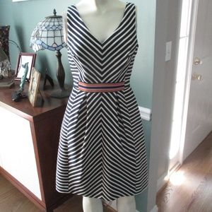 Anthropologie Maeve Navy Stripe A Line Dress 2